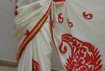 white kerala embroidered saree