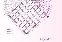 Horgolt szívek