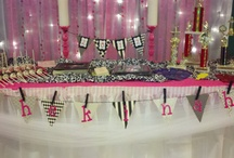 hot pink, black n white party/ graduation / by Monica Woolbright