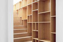 estantes e escadas