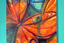 pintura con mariposas