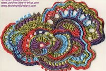 Freeform crochet, knitting
