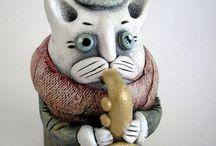 коты музыканты керамика