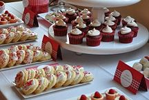 Red and Gold Dessert Table