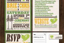 Pine tree outdoor wedding / Vintage poster pine tree green and yellow wedding