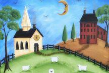 Janet  Metzger Folk Art Paintings