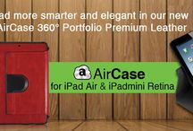 AirCase 360° Portfolio leather for iPad Air/iPad mini Retina / A premium leather case gives a classy look to your iPad Air with an additional feature of 360° rotation for viewing in landscape and portrait mode with three different viewing angles. Auto wake and sleep function on opening and closing of case.