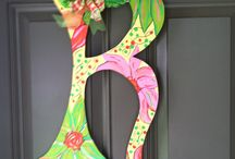 By barbara / Hand painted door hanger personalized letters / by Barbara McRae