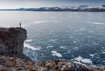 """Frozen lake in Russia / Lake Baikal is the world oldest and deepest lake. The """"nature lake"""" is a rift lake in the south of the Russian region of Siberia. Experts say that it is approximately 25 million years old and has an average depth of 744.4 meters (2,442 ft).  It is also among the clearest lakes in the world and it contains around 20% of the world's unfrozen surface fresh water."""