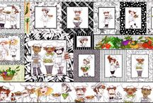 "Chef Fabric / Whimsical, quirky male and female chefs are the happy theme of this collection which features perfect coordinates. The lively pallate of green, yellow and orange mixed with black and white is the perfect, fun/sophisticated mood for your kitchen. The Placemat panel will make 4 fun mats, coasters and a border or table runner.  The regular panel is perfect for potholders, towels, aprons, wine bags and all manner of kitchen accessories. Sew yourself into a stew with ""What's Cookin'?""!"