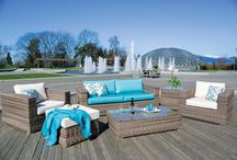 Outdoor Patio / Our all weather wicker is built for our West Coast climate. We have  and entire catalogue full of styles and over 100 fabric options. Build your set to fit your space:)