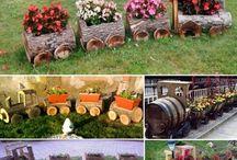 floreira com troncos