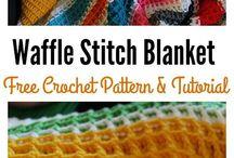 Crochet waffel stich blanket