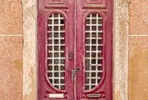 Portugal #distressed #painted doors / The Algarve has many examples of  distressed painted doors in all colours - The Real Thing
