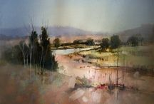 Watercolors by John Levett / Love the detail and the blurred parts   - gives a relaxed feeling