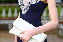 Inspiration / Navy dress with lace neck line