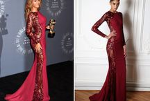 Celebrities in Designer Clothing / A collection of celebrities wearing designer dresses.