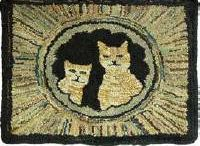 cats on hooked rugs