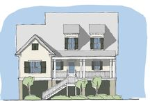 """Bull's Bay Creek / The Bull's Bay Creek plan is an elevated design ideal for coastal areas, and has front or side parking access. The large kitchen is connected to an open to a living/dining area. Upstairs, this design is complete with a """"flex space"""" that can be adapted into an extra bedroom or used as a home office."""