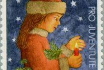Sveitsiläisiä joulupostimerkkejä