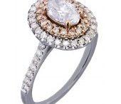14k White Rose Gold Oval Cut Diamond Pink Diamonds Engagement Ring Halo 1.10ct