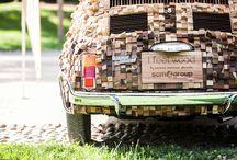 la mia 500 Kube / fiat 500 rivestita con oltre 200 tipi di legni provenienti dai 5 continenti per un totale di 5150 pezzi...