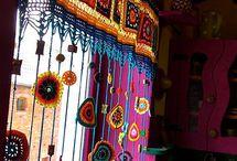 Crochet curtain and valances
