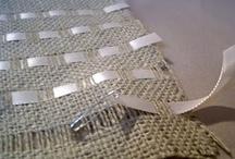 Hessian and ribbon cushions