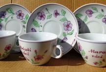 coffee cups / Kézzel festett porcelánok virág motívummal