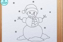 Drawings for Christmas  / christmas drawing, easy steps for kids and adults