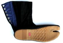 Shinobi Gear - Jika Tabi / Black (high-top) jika tabi. Tough, rigid rubber soles, strong canvas and rubberized at the edges. These tabi have solid support and good flexibility with 12 kohase (clasp) and three position closures to ensure a great fit. *Sold in pairs.