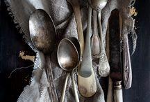 silver cutlery & bone handled knives