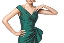 dark green mermaid cocktail dress with v-neck