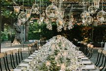 Wedding table settings for bride and groom, and guests