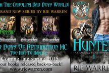 My Novels: BAD BOYS OF RETRIBUTION MC (Carolina Bad Boys Spinoff) / Too Hot To Handle! Four books, back-to-back, late spring 2015! http://www.riewarren.com/series/retribution-mc/#.VPtN9Cn4uFI / by Rie Warren