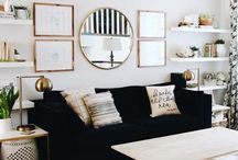 Blue and gold accent living room