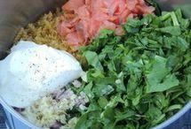 mélange légumes, pâtes, viandes ou poisson