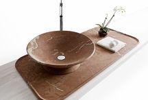 Kreoo_Nabhi Rosso Alicante / collezione di lavabi e vassoi in marmo
