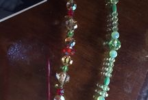 Jewelry / Hairsticks, Bracelets, and Earrings made with real crystal, dichroic, art, and Venetian glass beads using stainless and sterling findings.