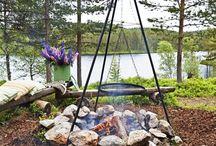 Gardening hytte bålplass