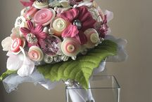 Button and brooch bouquets