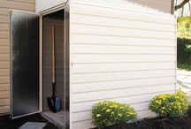 Arrow Yardsaver Steel Storage Shed Series / The Arrow Yardsaver Steel Storage shed comes in two sizes- 4' x 7' & 4' x 10'.  The lean too design allows for the shed to be placed against a Garage, House, another shed, fence, or anywhere else.  The door may be placed on either side of the shed.