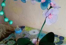 moje kwiaty z rajstop