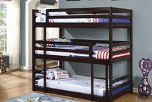 Triple Bunk Beds / Corner, L-shape, stacked triple bunk beds.
