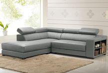 canapé d'angle cuir gris