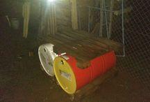 Colector de agua con 2 tambores de 200 lts y 2 pallets
