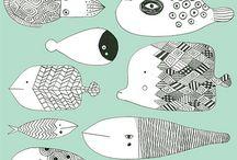 Ilustración de peces