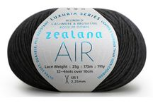 Zealana AIR Lace / AIR is something extraordinary—an ultra soft, durable, pill-resistant yarn that is lighter and warmer than 100% cashmere. AIR is 40% brushtail possum down, combined with 40% cashmere and 20% mulberry silk. AIR is our most luxurious yarn.
