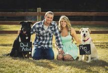 Save the date ideas with pets / Ideas for save the date cards involving photos with pets.