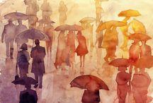 Regen Aquarell